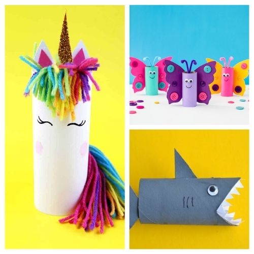 20 Fun Toilet Paper Roll Kids Crafts- Gather the children and spend the afternoon working on these 20 fun toilet paper roll kids crafts! Everyone is sure to have a great time! | frugal kids activities, #kidsCrafts #craftsForKids #kidsActivities #toiletPaperRollCrafts #ACultivatedNest
