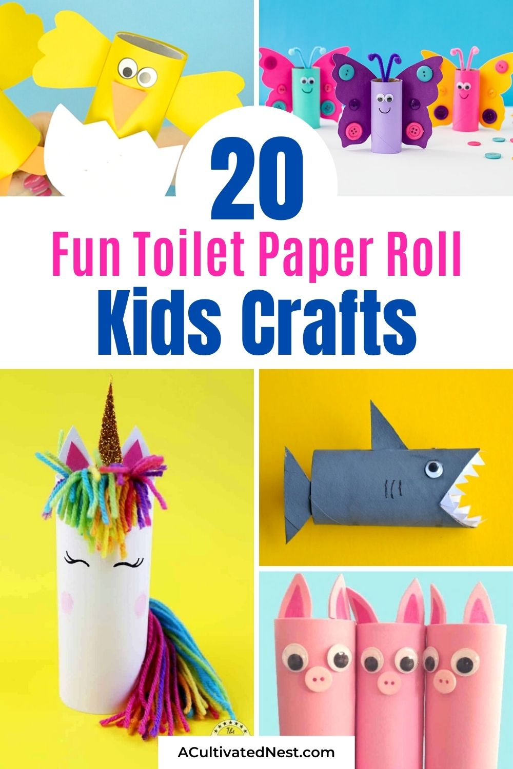 20 Fun Toilet Paper Roll Kids Crafts- A fun and frugal way to keep the kids busy is with some of these 20 fun toilet paper roll kids crafts! They're the perfect way to spend a rainy afternoon! | frugal kids activities, #toiletPaperRollCrafts #kidsCrafts #craftsForKids #kidsActivities #ACultivatedNest