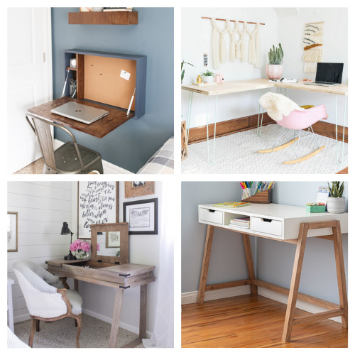 20 Charming Homemade Desks You Can Make- These charming DIY desks are beautiful! They are wonderful for an office, bedroom, or even a large closet! Don't miss out on these designs! | #DIY #desk #homeOffice #diyFurniture #ACultivatedNest