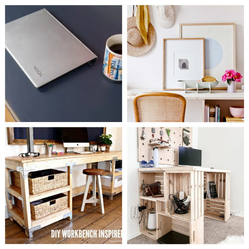 How to Make a Desk: 20 Projects- These charming DIY desks are beautiful! They are wonderful for an office, bedroom, or even a large closet! Don't miss out on these designs! | #DIY #desk #homeOffice #diyFurniture #ACultivatedNest