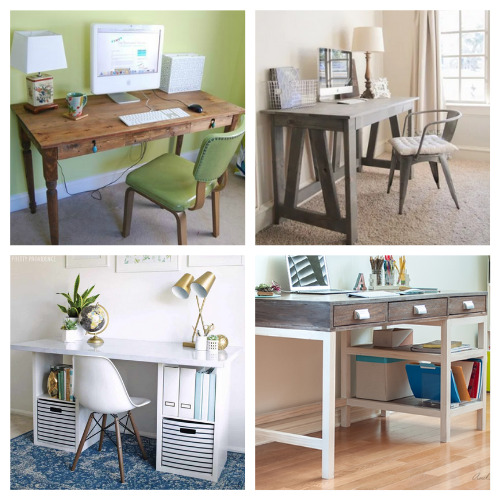 20 Charming DIY Desk Projects- These charming DIY desks are beautiful! They are wonderful for an office, bedroom, or even a large closet! Don't miss out on these designs! | #DIY #desk #homeOffice #diyFurniture #ACultivatedNest