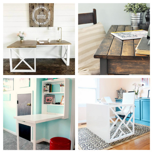 How to Make a DIY Desk: 20 Ideas- These charming DIY desks are beautiful! They are wonderful for an office, bedroom, or even a large closet! Don't miss out on these designs! | #DIY #desk #homeOffice #diyFurniture #ACultivatedNest