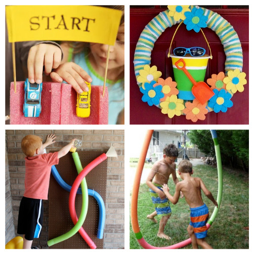 20 Fun Summer Pool Noodle Craft Ideas- This is the perfect time to get busy making these fun summer pool noodle DIYs! They are sure to make you and your kids smile! | repurpose pool noodles, pool noodle crafts, #summerCrafts #kidsCrafts #craftsForKids #poolNoodleDIY #ACultivatedNest