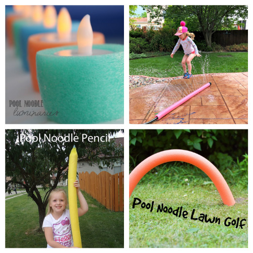 20 Fun Pool Noodle DIYs for Summer- This is the perfect time to get busy making these fun summer pool noodle DIYs! They are sure to make you and your kids smile! | repurpose pool noodles, pool noodle crafts, #summerCrafts #kidsCrafts #craftsForKids #poolNoodleDIY #ACultivatedNest