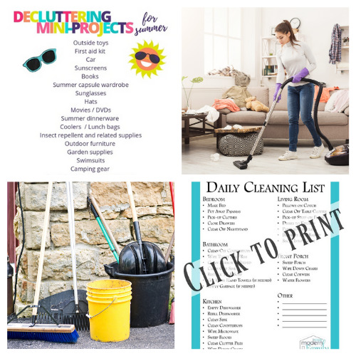 20 Summer Decluttering and Cleaning Checklist Free Printables- Summer is the perfect time for cleaning, and these summer cleaning and decluttering checklists will have your home tidy in no time! Many are also free printables, for even easier use! | #freePrintables #cleaningChecklist #declutteringChecklist #cleaningSchedule #ACultivatedNest