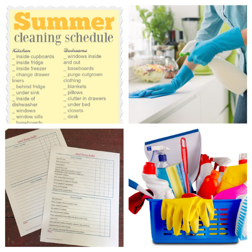 20 Summer Decluttering and Cleaning Schedules- Summer is the perfect time for cleaning, and these summer cleaning and decluttering checklists will have your home tidy in no time! Many are also free printables, for even easier use! | #freePrintables #cleaningChecklist #declutteringChecklist #cleaningSchedule #ACultivatedNest