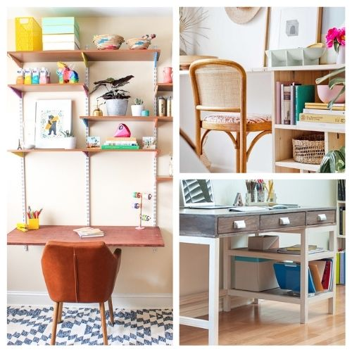 20 Charming DIY Desks You Can Make- These charming DIY desks are beautiful! They are wonderful for an office, bedroom, or even a large closet! Don't miss out on these designs! | #DIY #desk #homeOffice #diyFurniture #ACultivatedNest