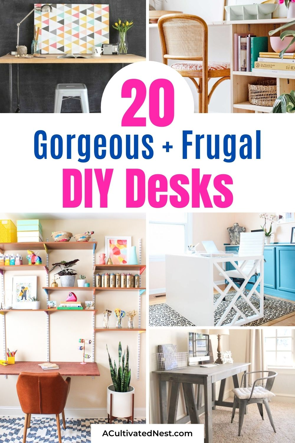 20 Charming DIY Desks You Can Make- Save money and get the desk of your dreams with these 20 gorgeous DIY desks you can make! They're wonderful for an office, bedroom, or even a large closet! | #homemadeFurniture #diyDesk #homeOffice #diyFurniture #ACultivatedNest