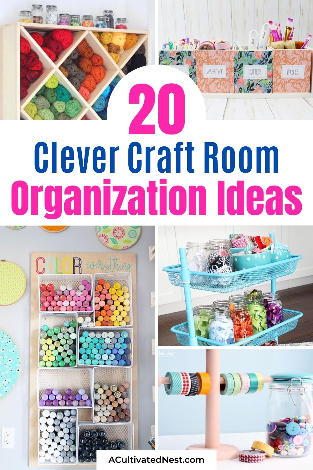 20 Clever Craft Room Organization Ideas- If your craft supplies are taking over your craft room, then you'll love these 20 clever craft room organization ideas! They're all unique, and so helpful! | #craftRoomOrganization #craftSupplyOrganization #organizing #organizingTips #ACultivatedNest
