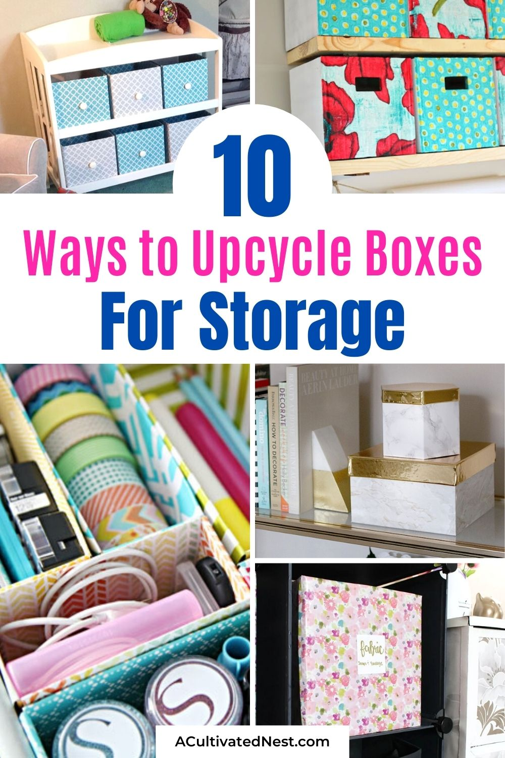10 Clever Ways to Upcycle Boxes for Storage- An easy way to get your home organized on a budget is to use things you might otherwise throw out and upcycle them instead! For some frugal ideas, check out these clever ways to upcycle boxes for storage!   #organizing #diyOrganization #upcycle #upcycling #ACultivatedNest