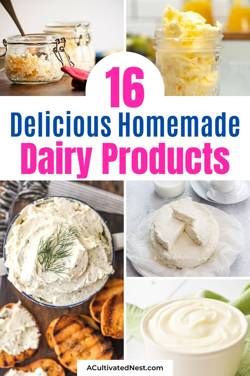 16 Delicious Homemade Dairy Products- A frugal way to save money on dairy products and know what's in your food is to make some of these homemade dairy products! They are simple, delicious, and frugal recipes that the whole family will enjoy! | homemade cheese, #homemadeFood #dairyProducts #dairyRecipes #homemadeButter #ACultivatedNest