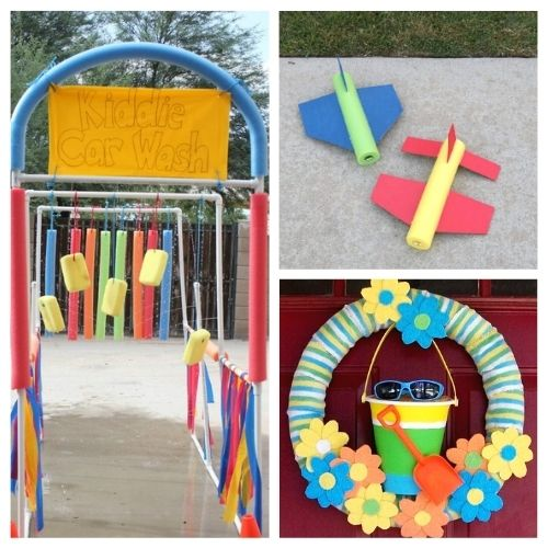 20 Fun Summer Pool Noodle DIY Ideas- This is the perfect time to get busy making these fun summer pool noodle DIYs! They are sure to make you and your kids smile! | repurpose pool noodles, pool noodle crafts, #summerCrafts #kidsCrafts #craftsForKids #poolNoodleDIY #ACultivatedNest