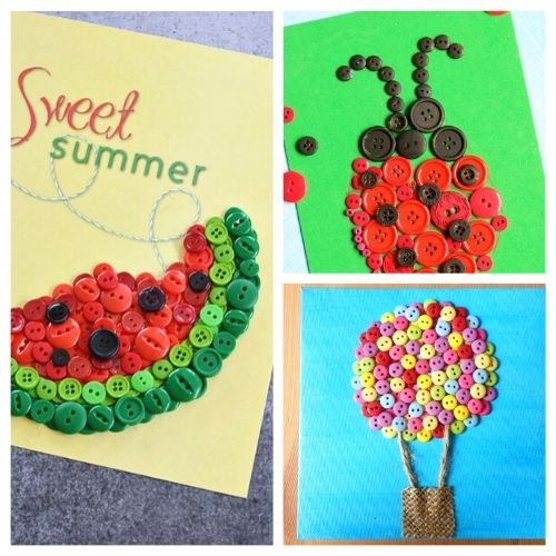20 Summer Button Crafts for Kids- These summer button crafts for kids will keep them busy and entertained! Plus, they're a very inexpensive way to keep the kids busy! | #kidsCrafts #summerCrafts #buttonCrafts #kidsActivities #ACultivatedNest