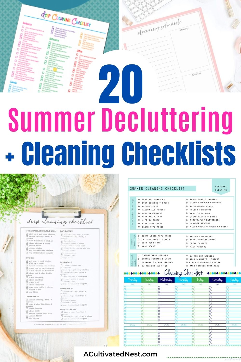 20 Summer Cleaning and Decluttering Checklists- Summer is the perfect time for tidying up your home, and these summer cleaning and decluttering checklists will help a lot! Many are also free printables, for even easier use! | #freePrintable #summerCleaning #declutteringSchedule #cleaningCleaning #ACultivatedNest