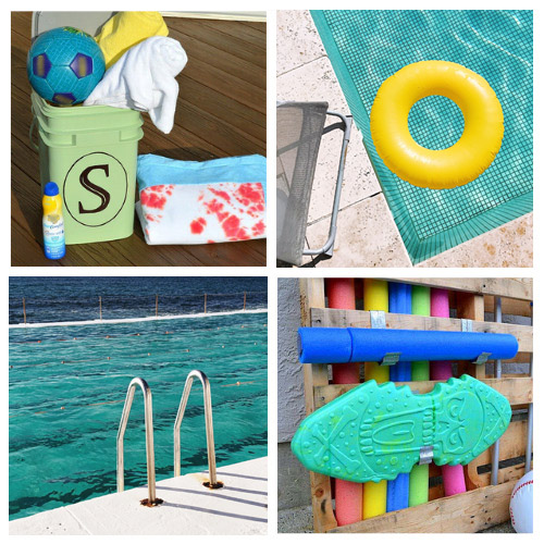12 Pool DIY Organizers- These clever DIY pool organizers will have your yard ready for swimming season and summer guests in no time! | summer organizing tips, how to organize pool toys, #organizingTips #diyOrganizers #organization #poolOrganization #ACultivatedNest