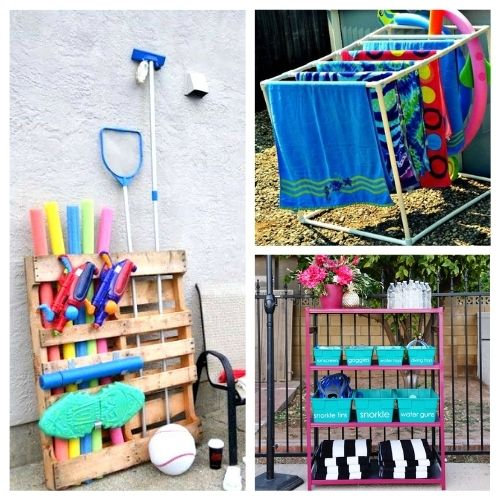 12 Clever DIY Pool Organizers- These clever DIY pool organizers will have your yard ready for swimming season and summer guests in no time! | summer organizing tips, how to organize pool toys, #organizingTips #diyOrganizers #organization #poolOrganization #ACultivatedNest