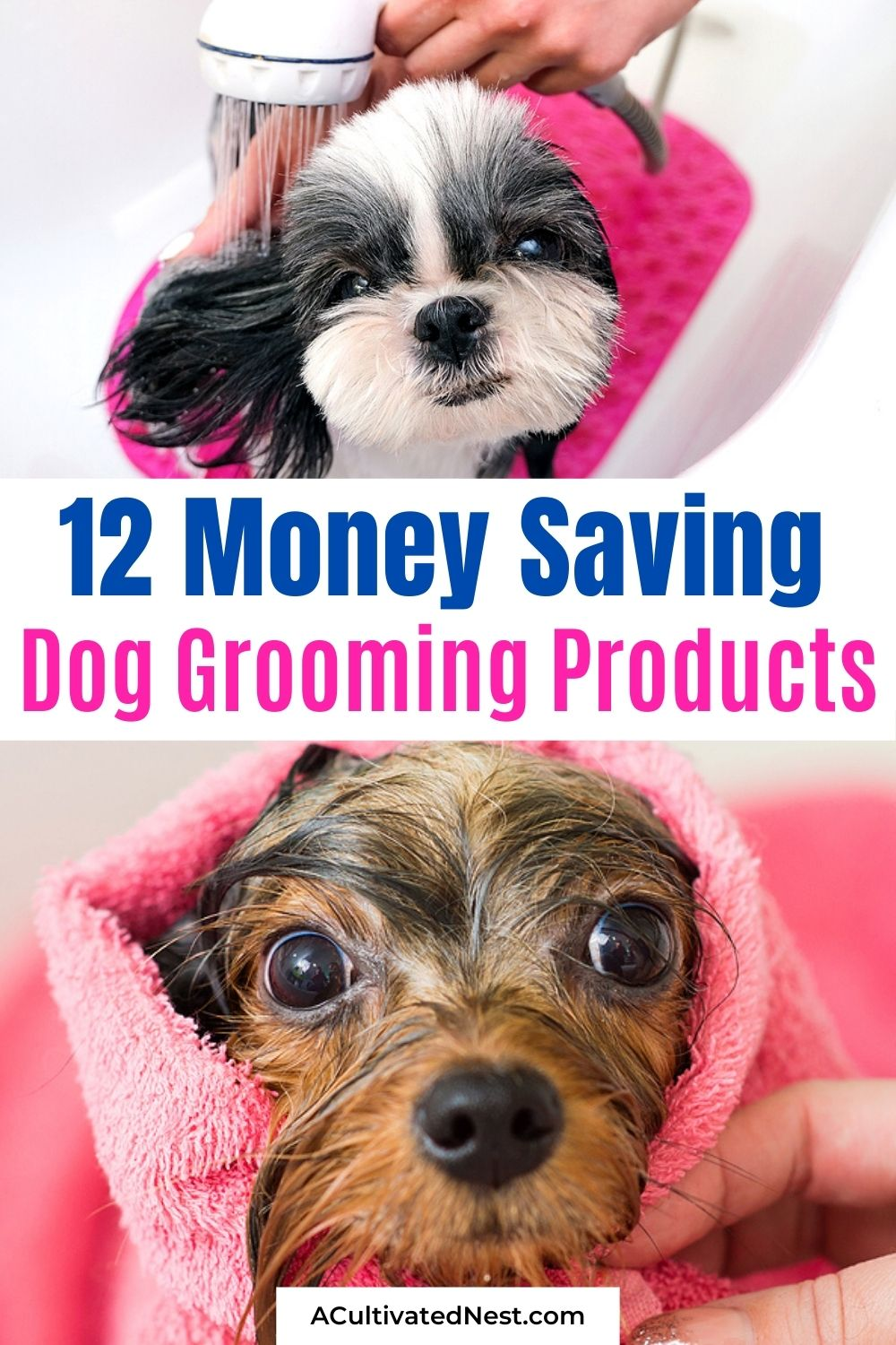 12 DIY Dog Grooming Products- If you want to get your dog clean and smelling great while saving money at the same time, then you need to make some of these DIY dog grooming products! | homemade dog shampoo, homemade dog ear cleaner, homemade dog eye wipes, #dog #dogGrooming #frugalLiving #homemade #ACultivatedNest