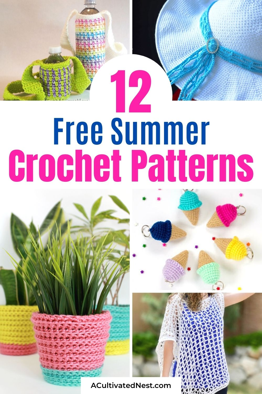 12 Free Summer Crochet Patterns- For a fun way to spend a summer afternoon, check out these free summer crochet patterns! They're perfect for beginners and people who are more experienced at crochet!   easy crochet patterns, crochet patterns for beginners, #crochetPatterns #summerCrochet #summerCrafts #DIY #ACultivatedNest