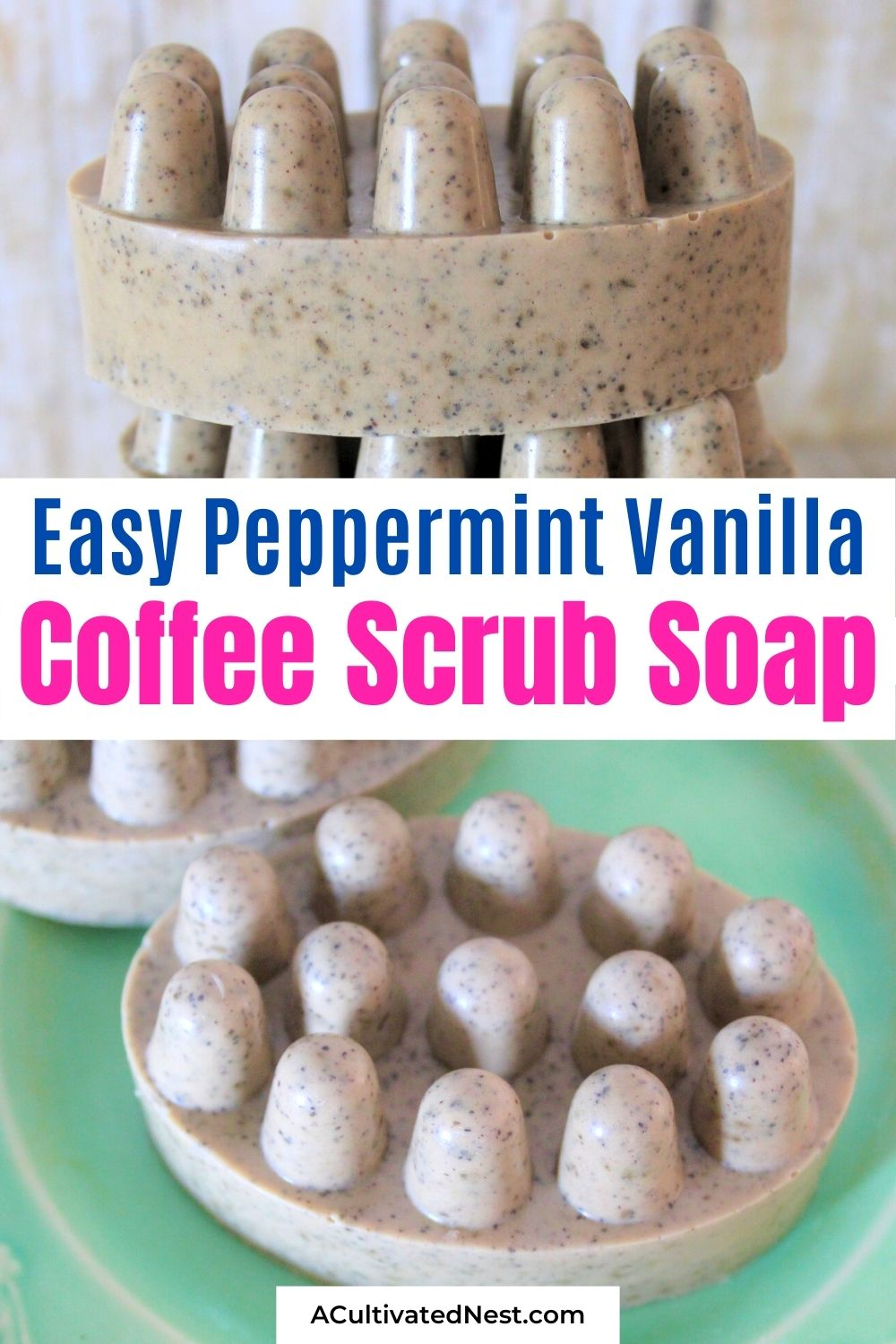 Easy Peppermint Vanilla Coffee Scrub Soap- For a clever way to use up used coffee grounds, you have to make this peppermint vanilla coffee scrub soap! This DIY soap smells amazing, looks fantastic, and makes a lovely homemade gift idea! | DIY gift idea, DIY soap, #craft #homemadeSoap #bodyScrub #homemadeGiftIdeas #ACultivatedNest