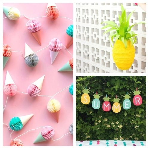 20 Fun Summer Party DIYs- Throw a great get-together with these 20 easy summer party DIYs! They are the perfect way to add some festive fun to your space! | #summerParty #partyDIY #diyProjects #crafts #ACultivatedNest