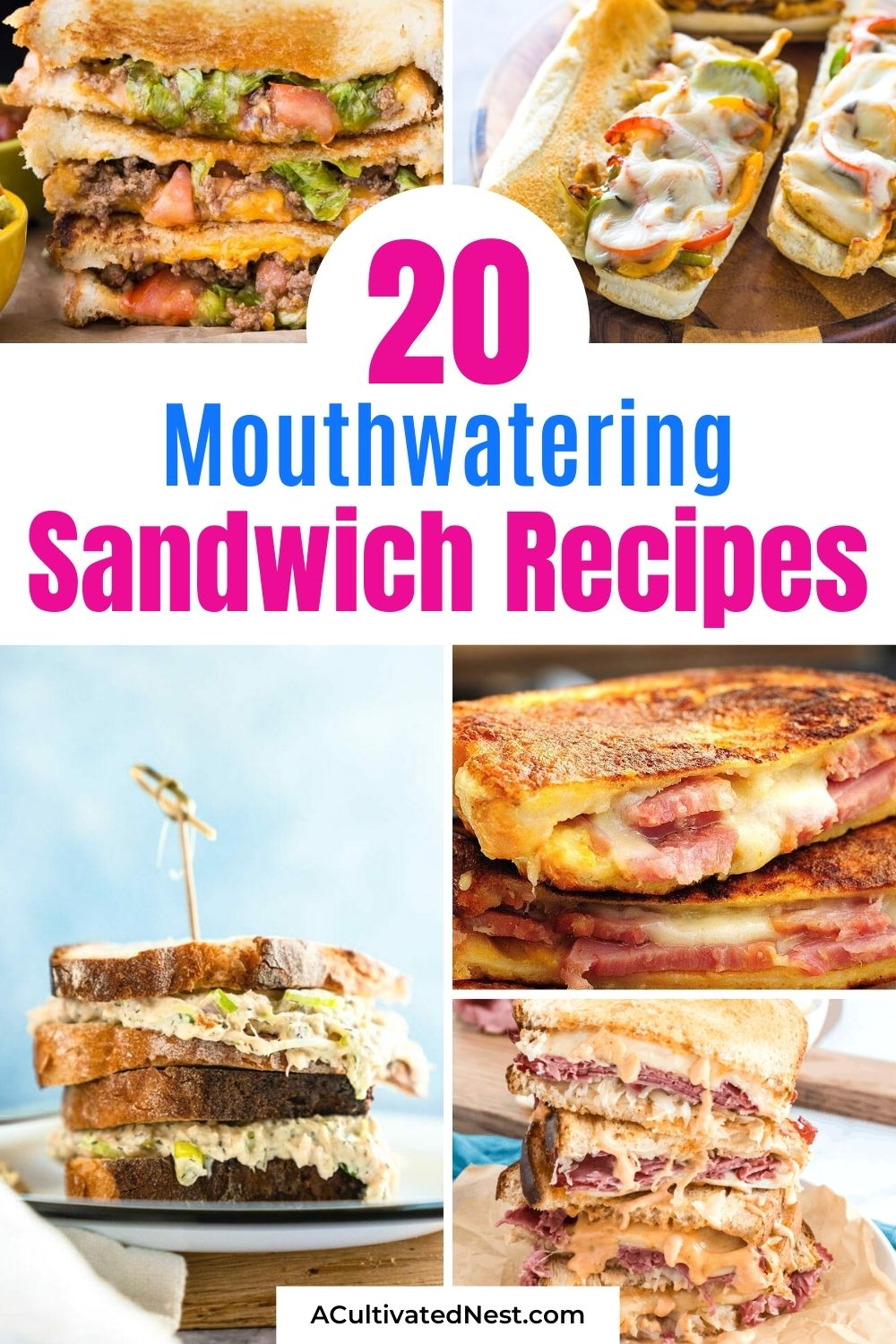 20 Mouthwatering Sandwich Recipes- If you want something new (and delicious) for lunch, then you have to try one of these 20 mouthwatering sandwich recipes! They're quick and easy to make, and they're perfect for all occasions!   #sandwiches #sandwichRecipe #lunchRecipe #lunch #ACultivatedNest