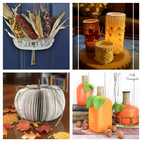 12 Creative Fall Upcycled Crafts- These creative fall upcycle projects use up materials you would normally throw away. They're a creative way to add charm to any space! | fall decorating on a budget, repurposing, repurposed DIY décor, recycled décor, #fallDIY #diyProjects #fallDecor #upcycle #ACultivatedNest
