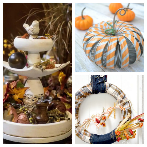 12 Creative Fall Upcycle Projects- These creative fall upcycle projects use up materials you would normally throw away. They're a creative way to add charm to any space! | fall decorating on a budget, repurposing, repurposed DIY décor, recycled décor, #fallDIY #diyProjects #fallDecor #upcycle #ACultivatedNest