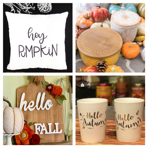 20 Clever Fall Cricut Crafts- Get inspired by these 20 clever fall Cricut crafts! There are so many great cutting machine DIYs that are festive and perfect for autumn! | #Cricut #CricutCrafts #CricutDIYs #diyProjects #ACultivatedNest