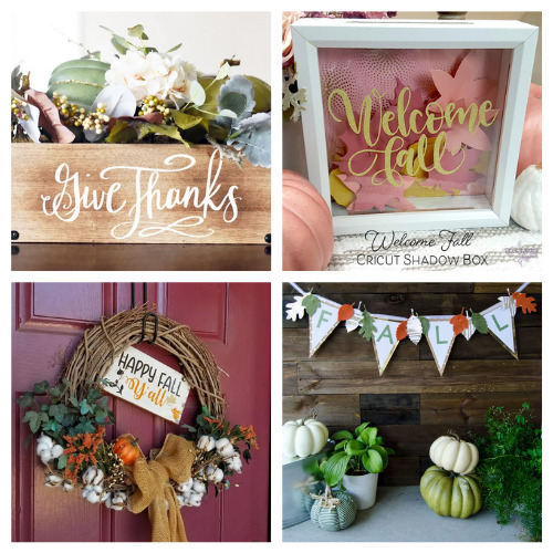 20 Clever Fall Cricut DIYs- Get inspired by these 20 clever fall Cricut crafts! There are so many great cutting machine DIYs that are festive and perfect for autumn! | #Cricut #CricutCrafts #CricutDIYs #diyProjects #ACultivatedNest