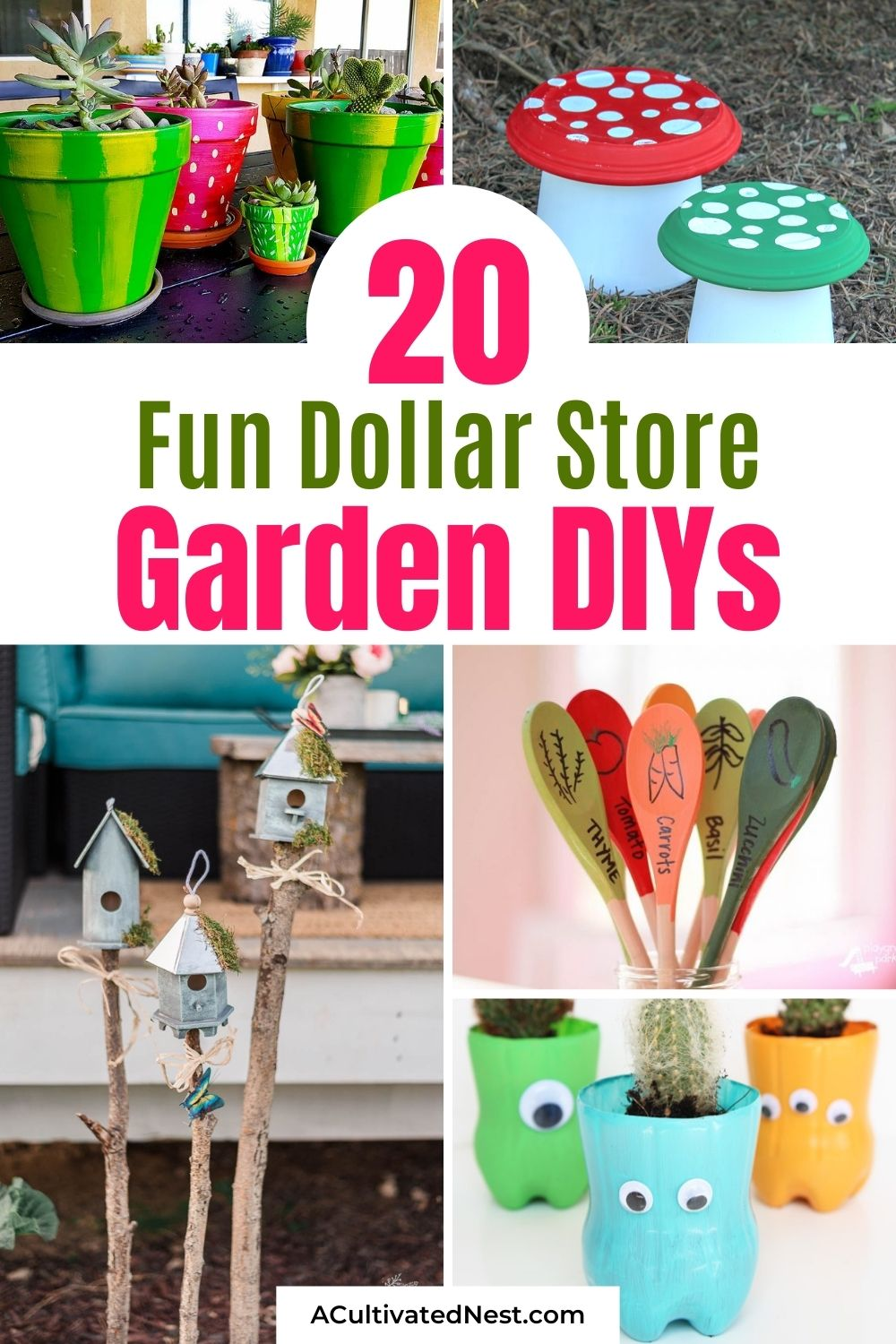 20 Brilliant Dollar Store Garden DIYs- If you want to add some fun to your garden on a budget, you have to try some of these brilliant dollar store garden DIYs! They're all easy to do, and will make your garden look great!   #diyProjects #gardenCraft #dollarStoreDIYs #diyProjects #ACultivatedNest
