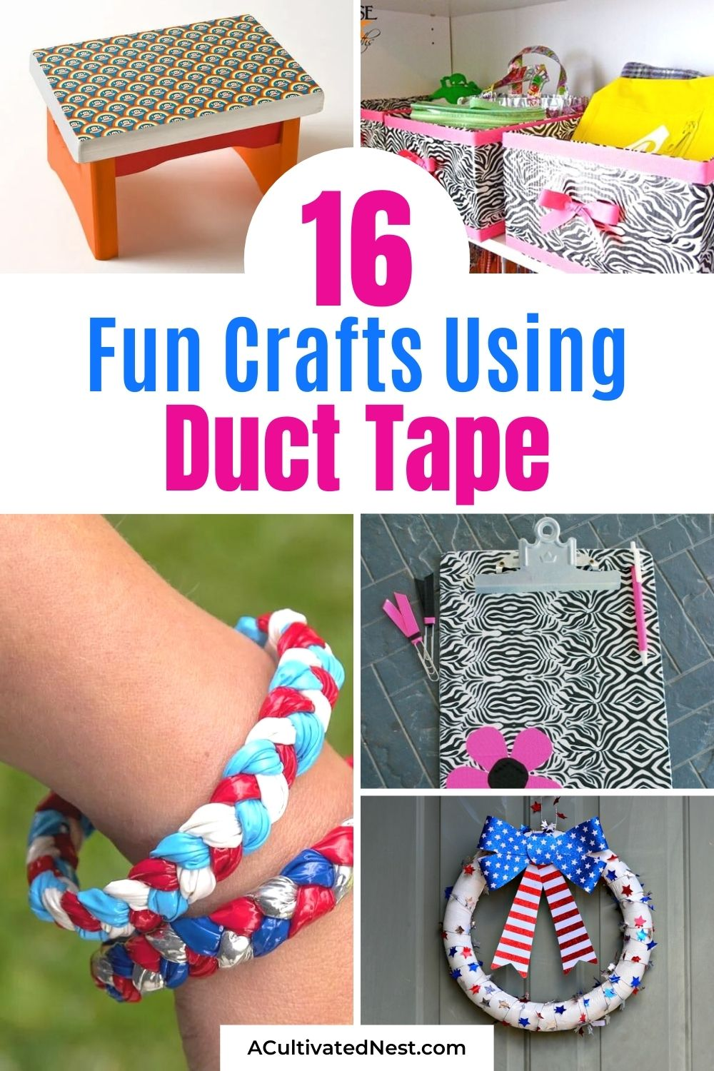 16 Creative Duct Tape Crafts- If you want a fun and creative way to spend some time, you should make some of these 16 creative duct tape crafts! They are great for kids and adults that want to get busy crafting! | #craftsForTeens #crafting #craftProjects #ductTapeDIY #ACultivatedNest