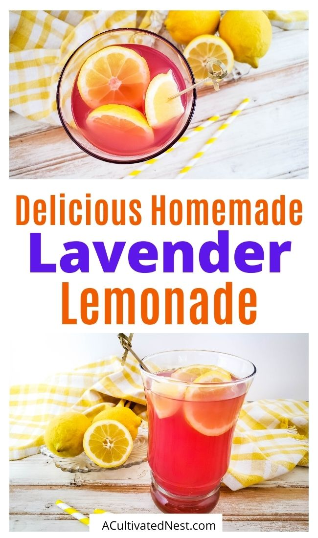 Easy Homemade Lavender Lemonade- Cool down this summer with a refreshing glass of homemade lavender lemonade! It's a simple drink that has delicious, bold, fresh flavors! | summer drink recipe, nonalcoholic homemade drink #lemonadeRecipe #homemade #drinkRecipe #recipes #ACultivatedNest