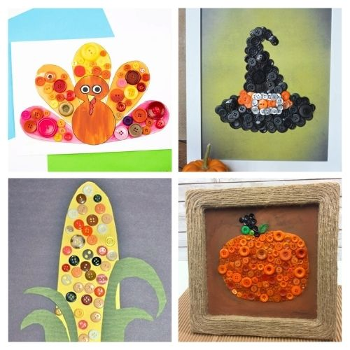 16 Fun Fall Button Crafts For Kids- Keep your kids busy this fall with these fun fall button crafts for kids! There are so many fun DIY button projects they can do! | Halloween kids crafts, Thanksgiving kids crafts, #kidsCrafts #buttonCraft #kidsActivities #fallCrafts #ACultivatedNest