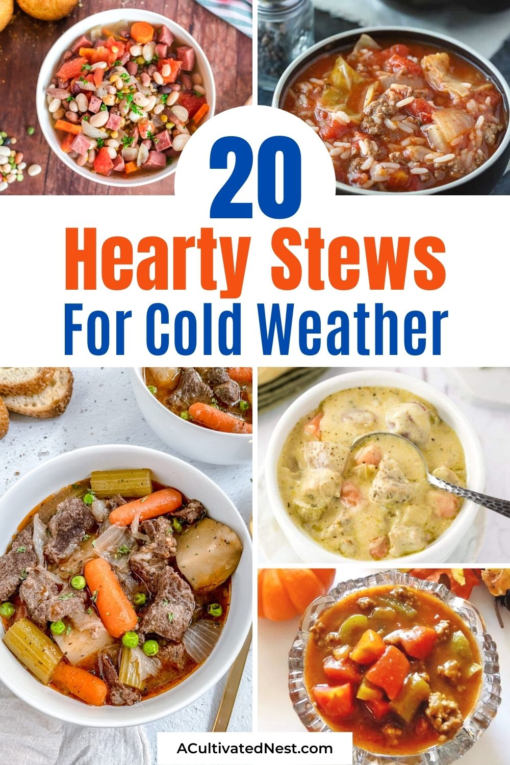 20 Hearty Stews for Cold Weather- This fall and winter, curl up in your favorite chair with one of these hearty stews. It'll help make you warm and happy on any cold day! | fall stew recipe, winter stew recipe, slow cooker stew recipe, Crock-Pot stew recipe #stewRecipes #recipes #winterRecipes #CrockPotRecipe #ACultivatedNest