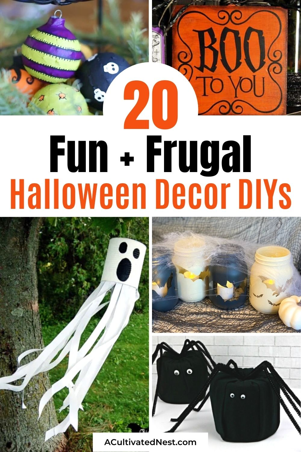20 Budget-Friendly Halloween DIY Decorations- Get your home decorated for Halloween on a budget with these fun and frugal Halloween DIY decorations! There is so much spooky fun décor you can make! | #HalloweenDIY #diyProject #HalloweenCrafts #HalloweenDecorations #ACultivatedNest