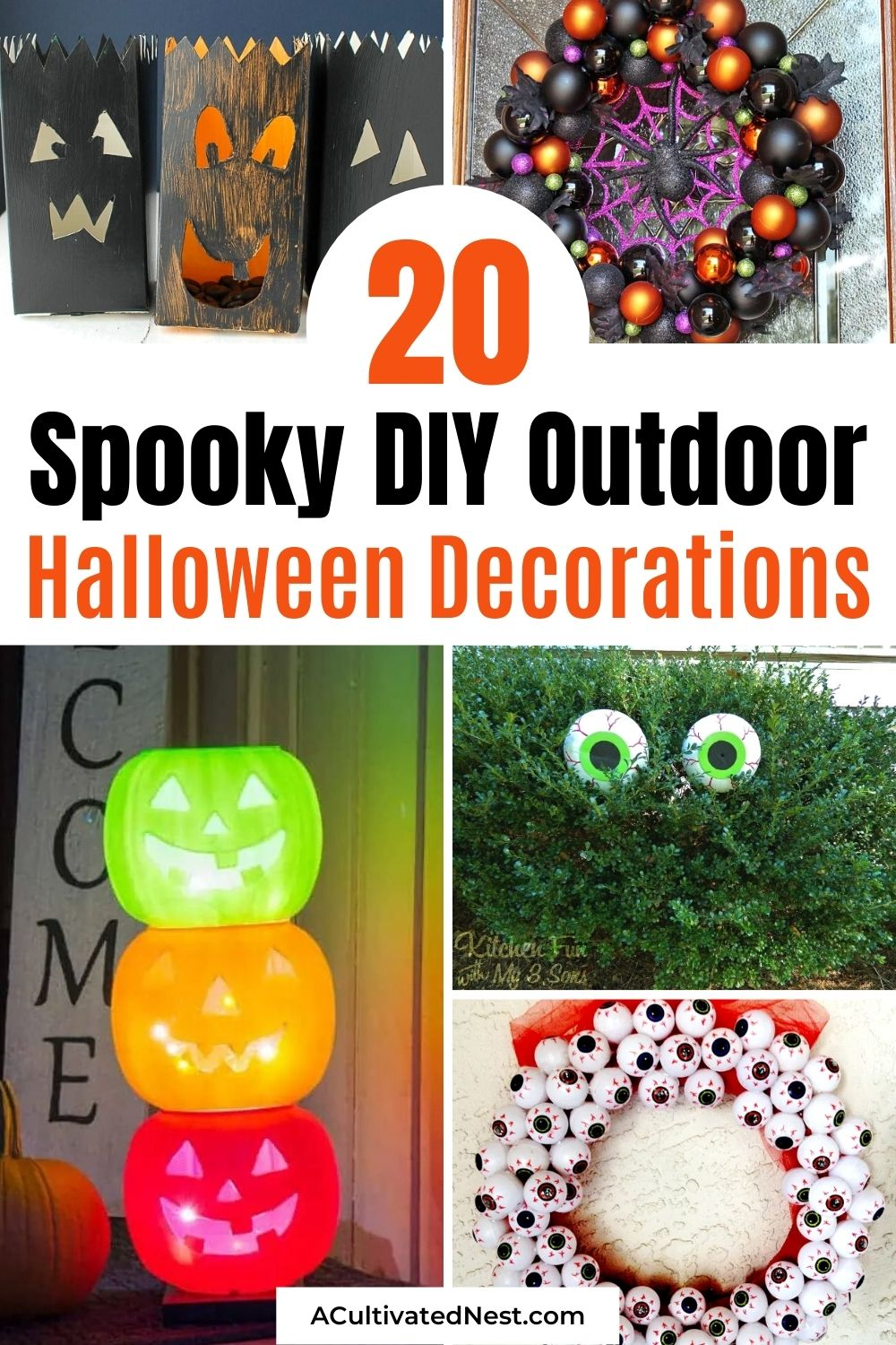 20 DIY Outdoor Halloween Decorations- Make your yard fun and festive for Halloween on a budget with these 20 DIY outdoor Halloween decorations! There are so many spooky and fun DIY Halloween décor ideas! | #HalloweenDecor #diyProects #HalloweenCrafts #HalloweenDecorations #ACultivatedNest