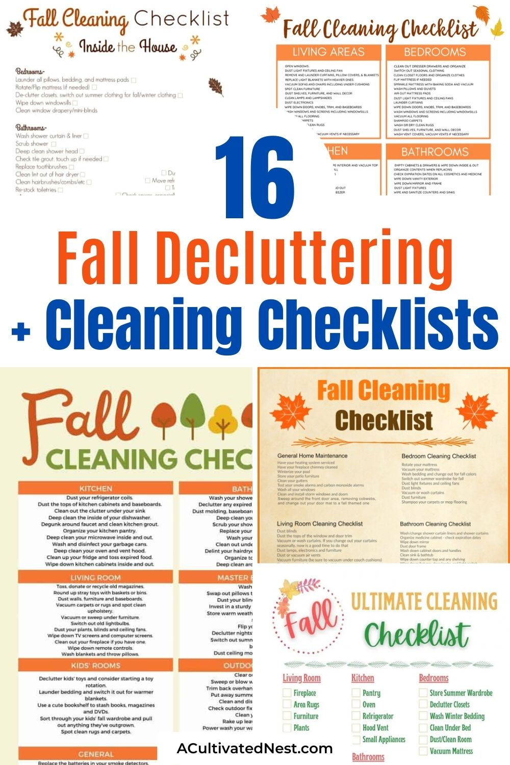 16 Fall Cleaning and Decluttering Free Printables- Fall is the perfect time to get your home neat and tidy before the busy holiday season. To help make that task easier, you need these free printable cleaning and decluttering checklists for fall! There are so many helpful ones to choose from! | #cleaningSchedule #declutteringChecklist #freePrintable #organizingTips #ACultivatedNest