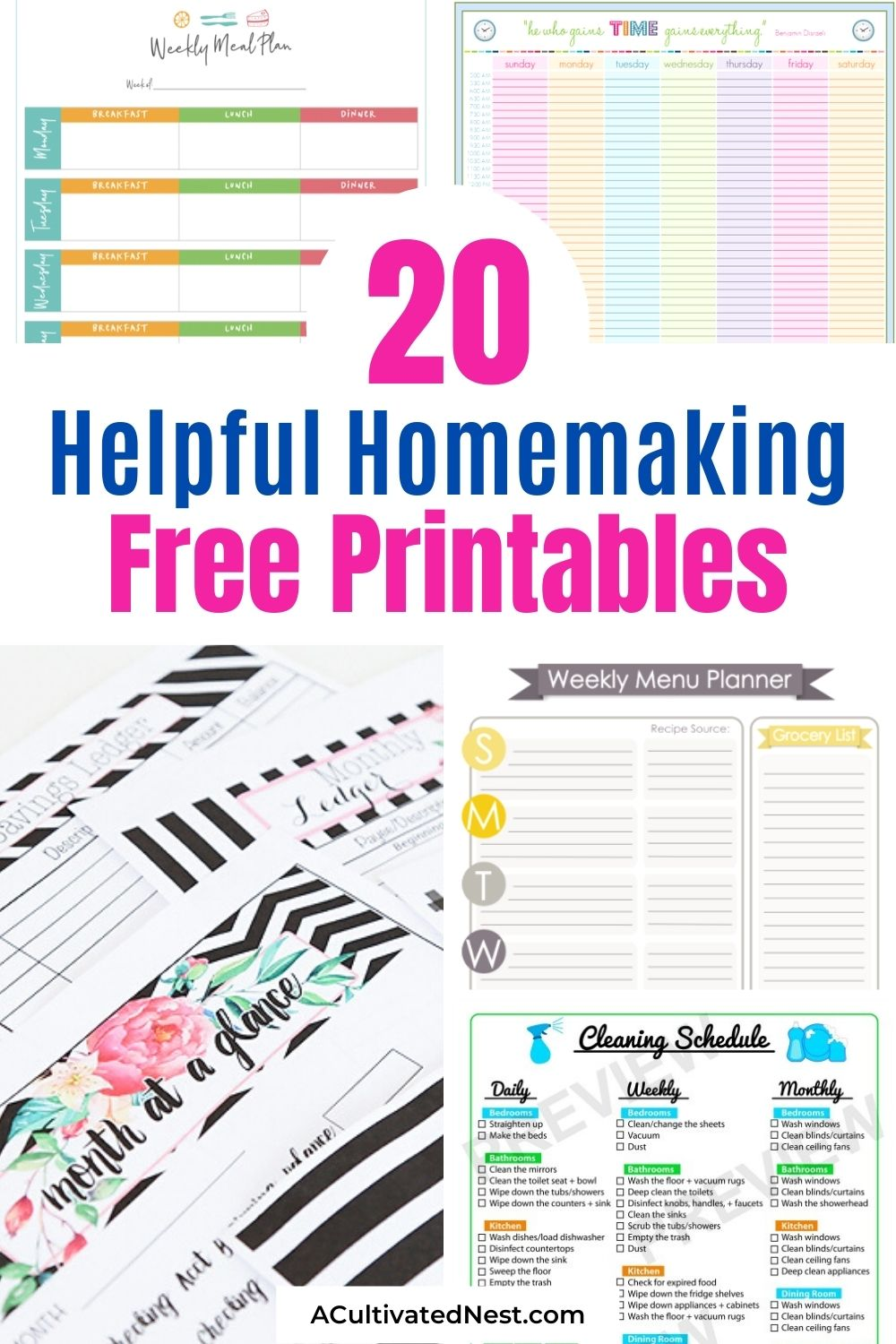 20 Helpful Free Homemaking Printables- If you need to get your home and life in order, then you'll love these 20 helpful free homemaking printables! They're easy to follow, and so useful! | budgeting, meal planning, cleaning tips, home binder printable pages, mom binder printables #freePrintable #printables #budgeting #mealPlanning #ACultivatedNest