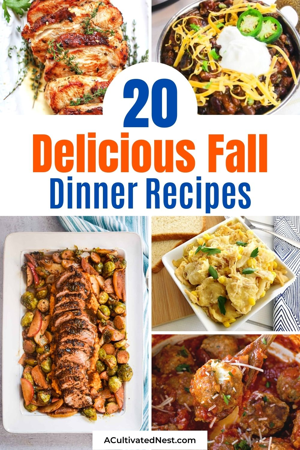 20 Delicious Fall Dinner Recipes- Serve up some delicious fall flavors for dinner with this list of delicious fall dinner recipes to try! | #fallRecipe #recipeIdeas #fallFoods #dinnerIdeas #ACultivatedNest