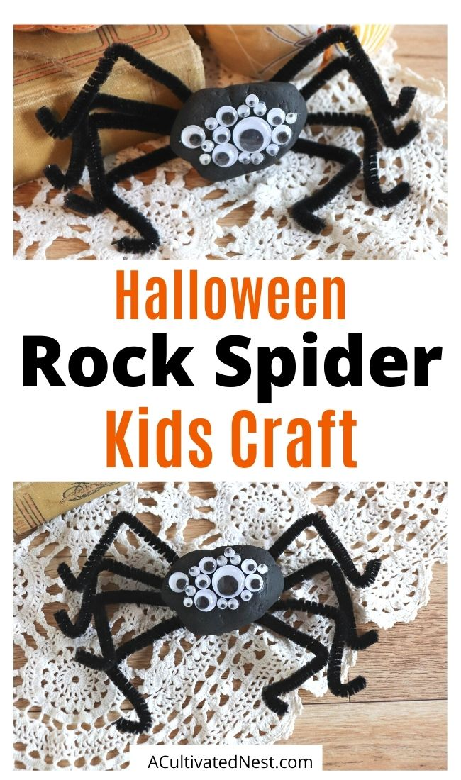 Rock Spider Kids Craft- If your kids can't wait for Halloween, then give them this fun rock spider kids craft to do! These cute DIY rock spiders also make fun Halloween décor! | #HalloweenDIY #kidsActivities #HalloweenCraft #paintedRockCraft #ACultivatedNest
